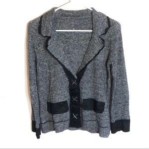 One Girl Who Sweater Jacket Large Gray